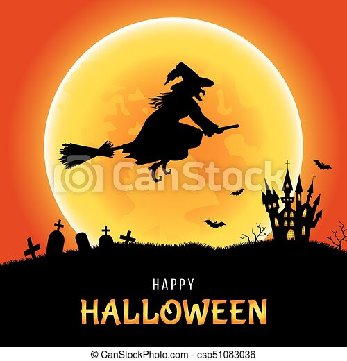 Happy Halloween Template For Card Flyer Or Party Invitation Happy