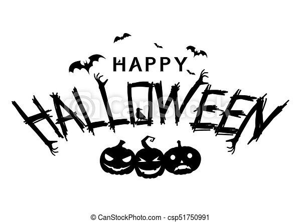 Happy Halloween Text Banner Happy Halloween Lettering Text Banner With Smiling Pumpkin Silhouette All In A Single Layer