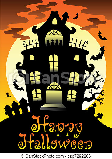 happy halloween theme with moon 2 vector illustration