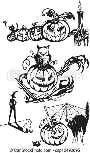 Happy Halloween - vector set. - csp12490895