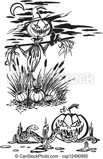 Happy Halloween - vector set. - csp12490995