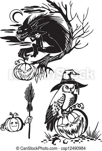 Happy Halloween - vector set. - csp12490984