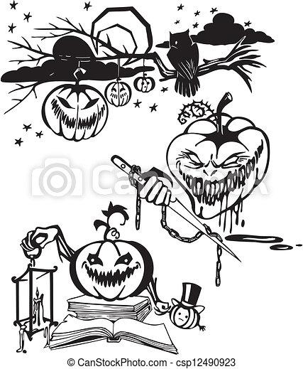 Happy Halloween - vector set. - csp12490923