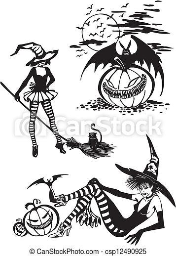Happy Halloween - vector set. - csp12490925