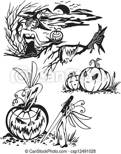 Happy Halloween - vector set. - csp12491028