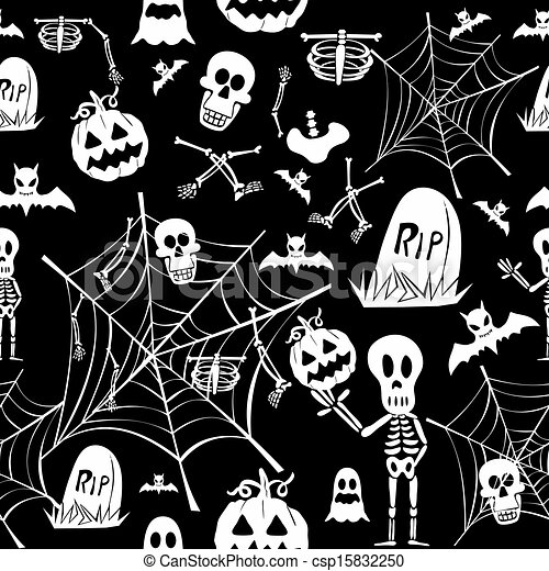 Happy Halloween White Elements Seamless Pattern Background Eps10 Vector File Organized In Layers For Easy Editing