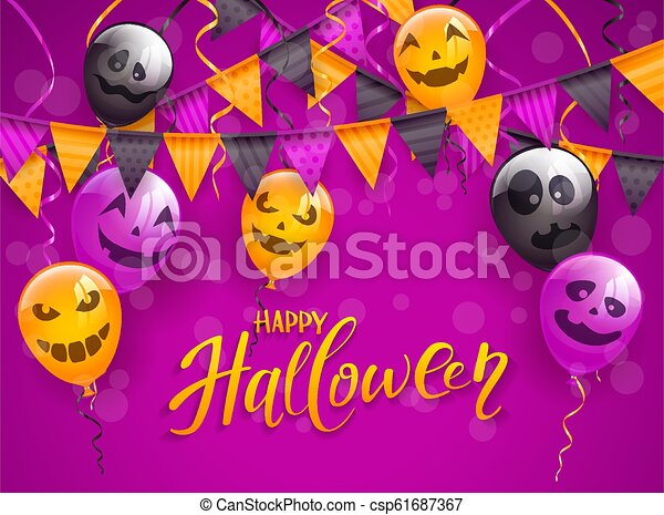 Happy Halloween with scary balloons and pennants on purple background - csp61687367