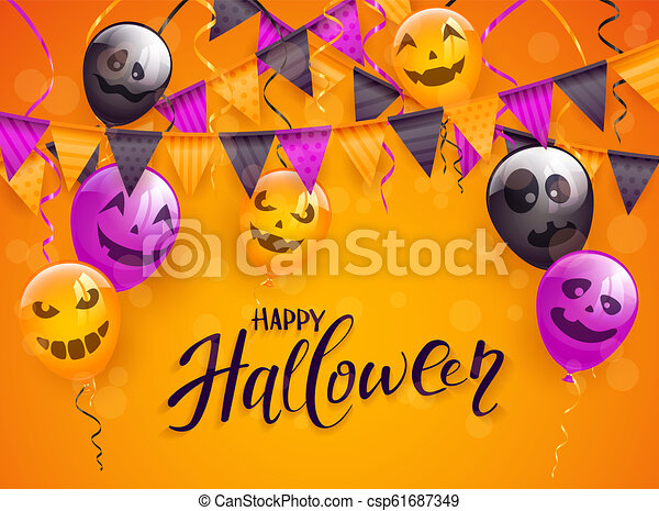 Happy Halloween with scary balloons and pennants on orange background - csp61687349