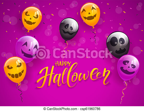 Happy Halloween with Scary Balloons and Confetti on Purple Background - csp61960786