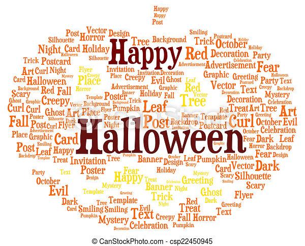 happy halloween word cloud shaped as a pumpkin csp22450945