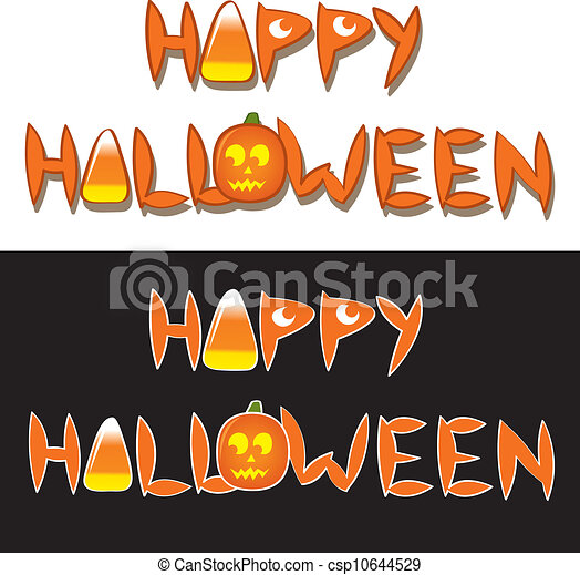Happy halloween words. The drawn words happy halloween with ...