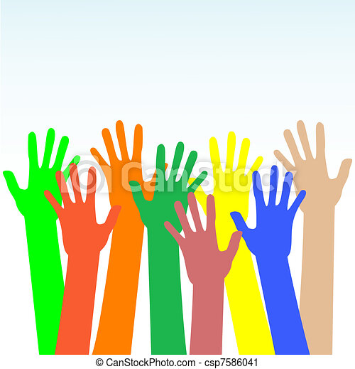 happy hands multicolored vector on blue background - csp7586041