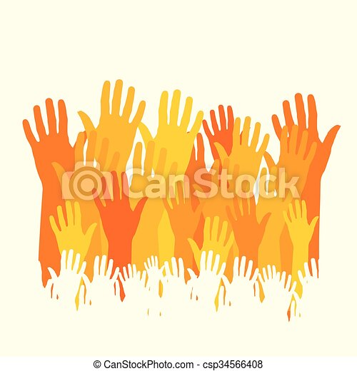 happy hands vector - csp34566408