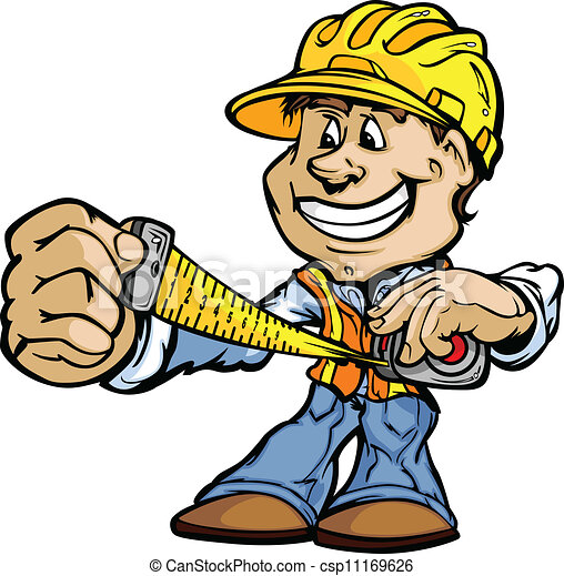 Happy Handyman Contractor Standing Cartoon Vector Image - csp11169626