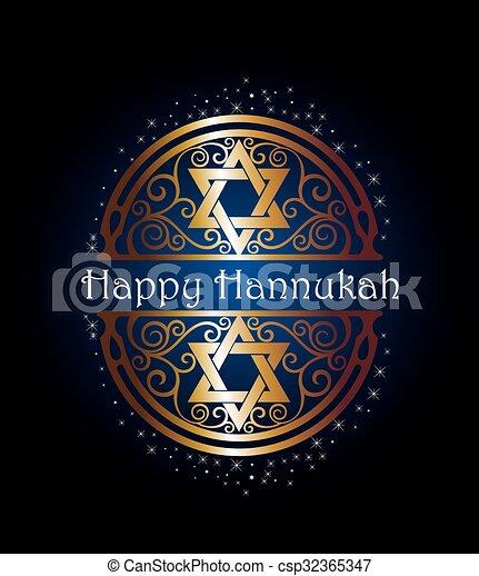 Happy Hannukah illustration - csp32365347