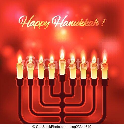 Happy Hanukkah blurred background - csp23344640