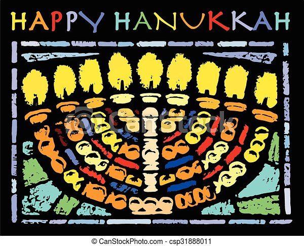 Happy Hanukkah Card - csp31888011