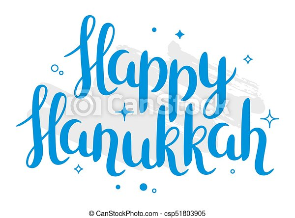 Happy Hanukkah celebration holiday card with lettering - csp51803905