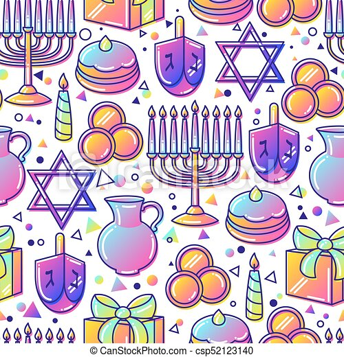 Happy Hanukkah celebration seamless pattern with holiday objects - csp52123140