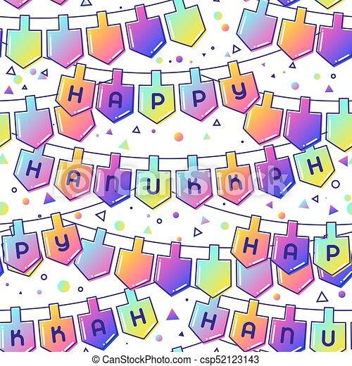 Happy Hanukkah celebration seamless pattern with holiday objects - csp52123143