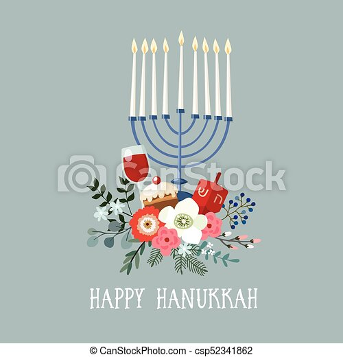 Happy hanukkah greeting card invitation with hand drawn clip art happy hanukkah greeting card invitation with hand drawn candleholder dreidle donut and floral m4hsunfo