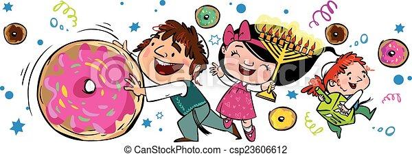 Happy Hanukkah greeting card. Vector illustration - csp23606612