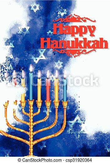 Happy Hanukkah, Jewish holiday background - csp31920364