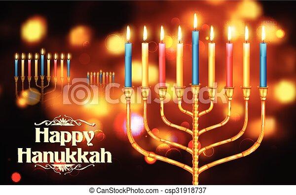 Happy Hanukkah, Jewish holiday background - csp31918737