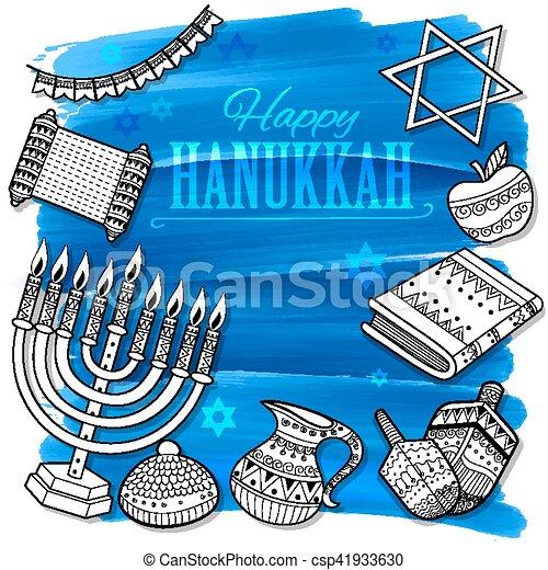 Happy Hanukkah, Jewish holiday background - csp41933630
