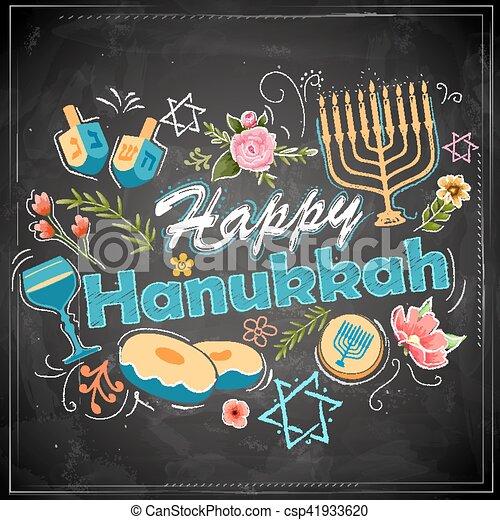 Happy Hanukkah, Jewish holiday background - csp41933620