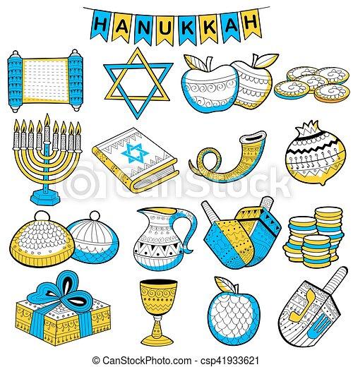 Happy Hanukkah, Jewish holiday background - csp41933621