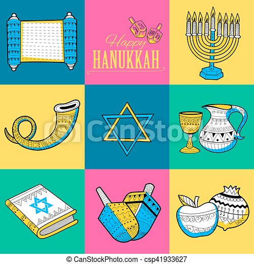 Happy Hanukkah, Jewish holiday background - csp41933627