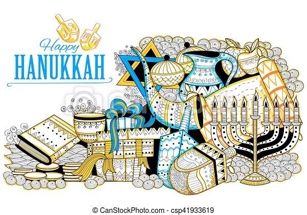 illustration of happy hanukkah jewish holiday background vector rh canstockphoto com Yom Kippur Clip Art jewish holiday symbols clip art