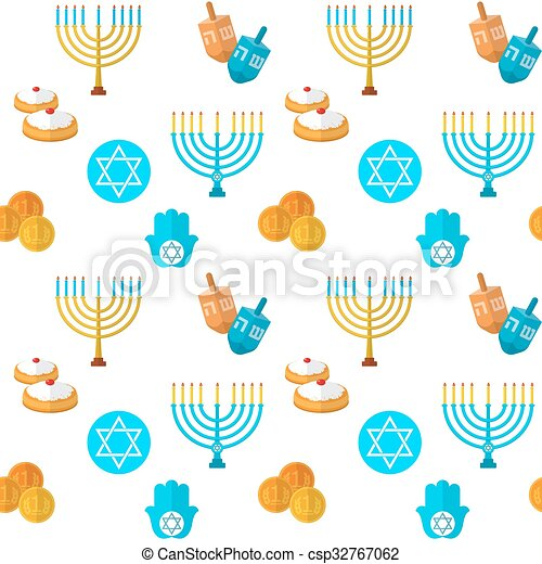 Happy Hanukkah seamless pattern - csp32767062