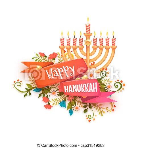 Happy hanukkah. Vector banner with ribbon and candles - csp31519283
