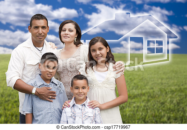 Happy Hispanic Family Standing in Grass Field with Ghosted House Behind. - csp17719967