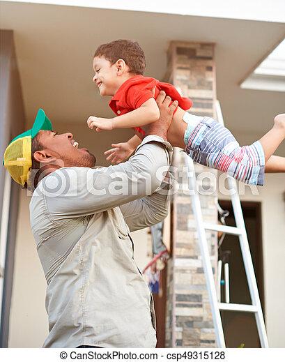 Happy hispanic family - csp49315128