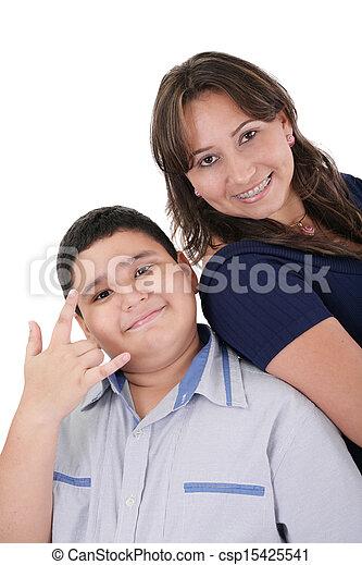 Happy hispanic mother and son portrait - csp15425541