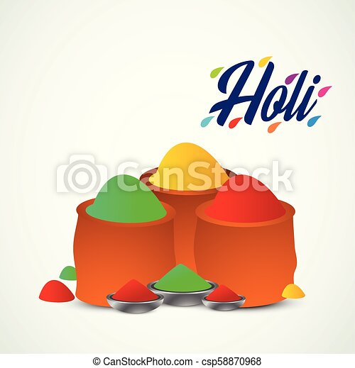 happy holi festival. white holi background having creative typography and colorful holi elements - csp58870968