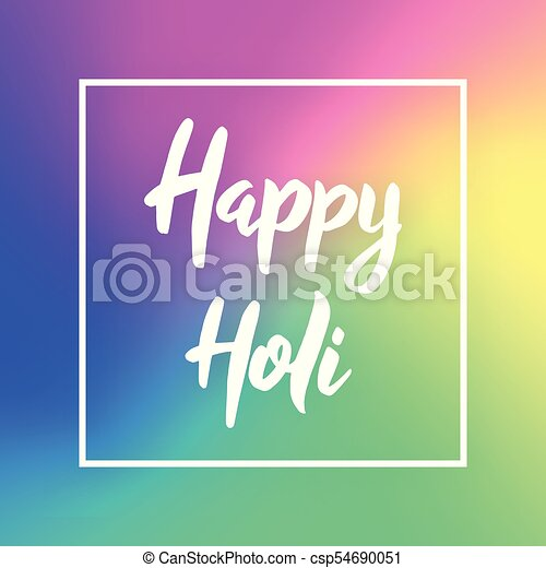 Happy Holi Hand Drawn Lettering Phrase