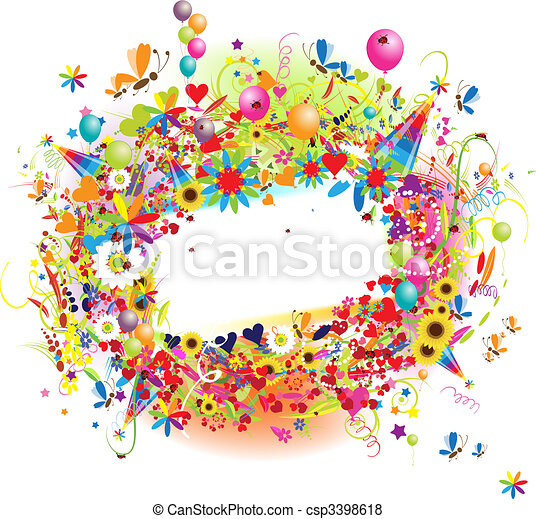 Happy holiday, funny frame with ballons - csp3398618