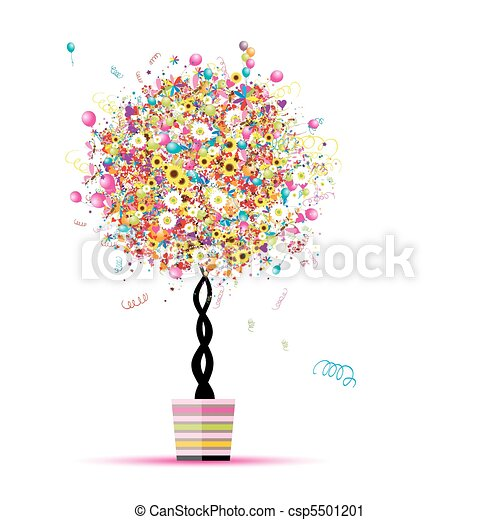 Happy holiday, funny tree with balloons  in pot for your design - csp5501201