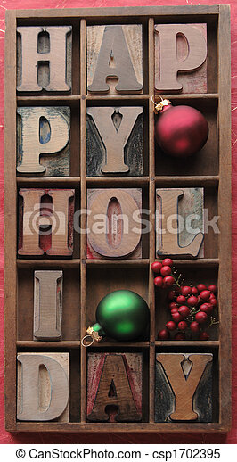 happy holiday with ornaments, berries - csp1702395