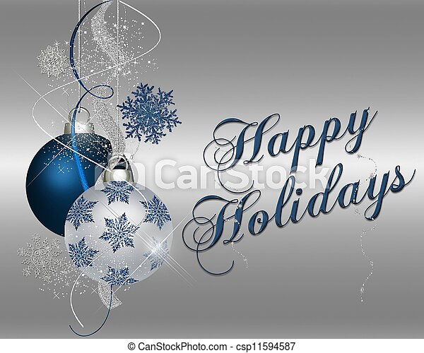 Happy Holidays - blue - csp11594587