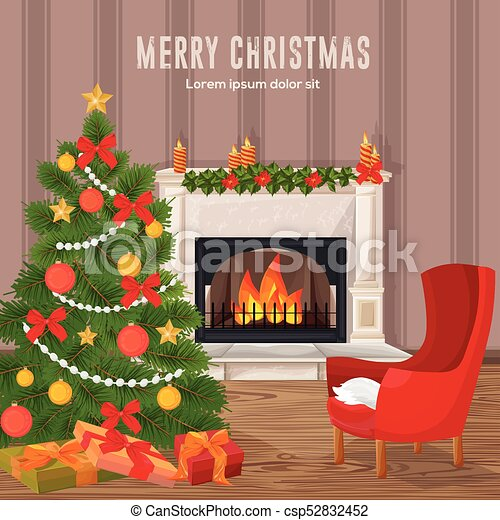 Fireplace Christmas.Happy Holidays Card Winter Fireplace Chimney And Christmas Tree Vectors