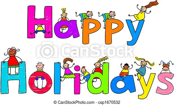 happy holidays happy holidays text message with little kids rh canstockphoto com happy holidays clip art banner happy holidays clip art banner