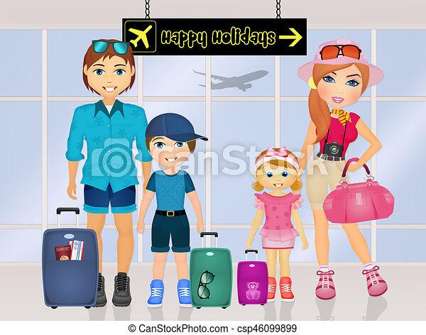 Happy Holidays Family Stock Illustration