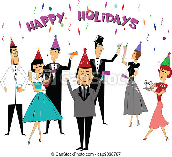 happy holidays for seasonal events in retro style party time