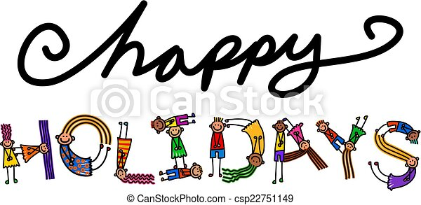 Happy Holidays Kids Title Text Happy Cartoon Little Stick Girls And