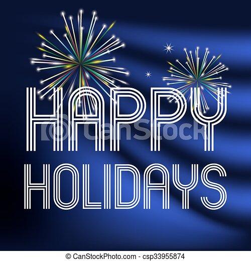 happy holidays on dark blue background with fireworks eps10 - csp33955874